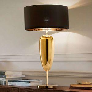 Show Ogiva – čierno-zlatá textilná stolná lampa