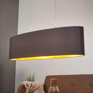 Textilná závesná lampa Lecio, ovál 78 cm čierna