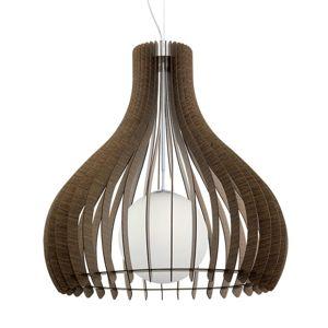 Závesná lampa Tindori s drevenými lamelami, hnedá