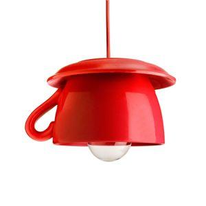 Tazza – červená keramická závesná lampa do kuchyne