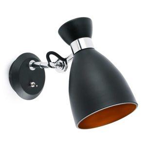 Nástenné retro svietidlo s vypínačom, čierne