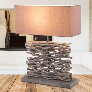 Jamie – sivá lampa drevený podstavec a dekorácia