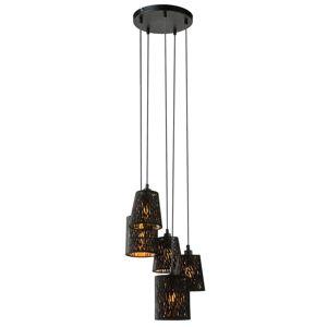 Závesná lampa Tuxon, okrúhla, 5-plameňová