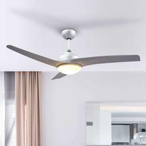 Strieborný stropný ventilátor Emanuel, osvetlený