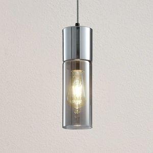 Závesná lampa Eleen s valcami z dymového skla
