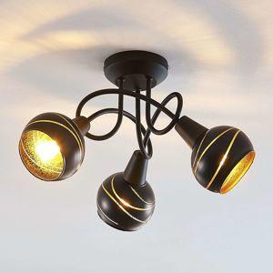 Stropné svietidlo Lynette čierno-zlaté 3pl okrúhle