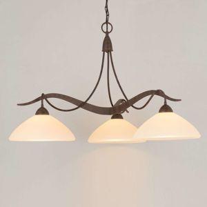 3-plameňová závesná lampa Samuele vidiecka krémová