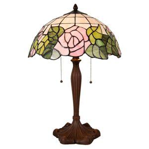 Stolná lampa 5912 štýl Tiffany ružovo-zelená