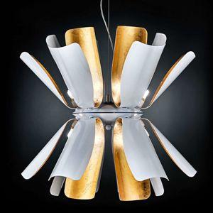 Dizajnová závesná lampa Tropic s lístkovým zlatom