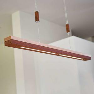 Hrdzavý vzhľad a drevo, závesné LED svietidlo Elna