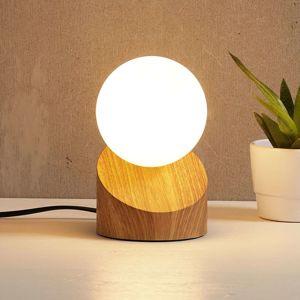 Stolná LED lampa Alisa podstavec drevený vzhľad