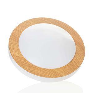 Okrúhle stropné LED svetlo Gordon s dreveným lakom