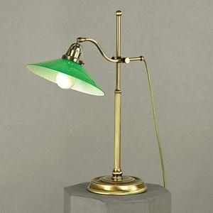 Zelená stolná lampa VERDINA, vzhľad patiny