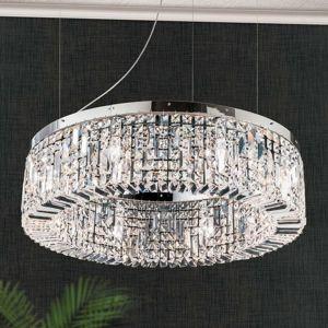 Jagavá krištáľová závesná lampa Kruh 80 cm chróm