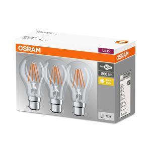 Filament LED žiarovka B22d 7W teplá biela sada 3