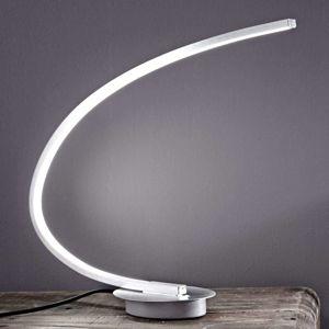 Stolná LED lampa Nalevi, tvar oblúka, striebro