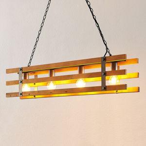 Lindby Lindby Jamina drevená závesná lampa, 4-plameňová