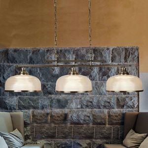 Závesná lampa Bistro II 3-pl. starožitná mosadz