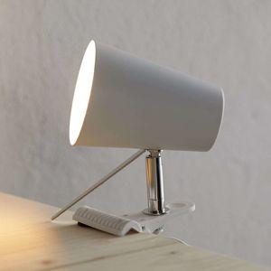 Biela upínacia lampa Clampspots moderný vzhľad