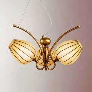 Závesná lampa Gemma ručne vyrobená 3-pl. jantár