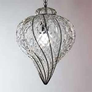 Závesná lampa Goccia ručne fúkaná číra 37 cm