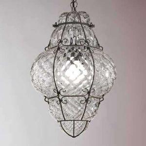 Závesná lampa Classic ručne fúkaná číra 62 cm