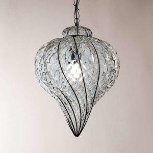 Vonkajšia závesná lampa Goccia ručne fúkaná číra