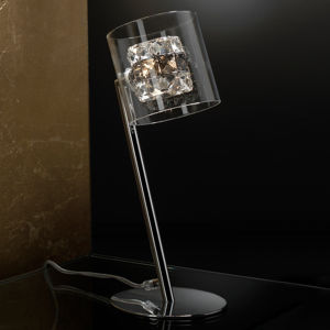Schuller Stolná LED lampa Flash s krištáľovými kruhmi