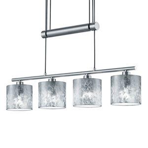 Závesná lampa Garda 4pl plastové tienidlá striebro