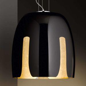 Sklenená závesná lampa Madeira, čierno-zlatá 48 cm