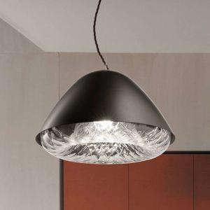 Závesná lampa Kira SP P E27 krištáľové sklo čierna