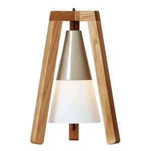 Trojnohá drevená stolná lampa Lucas