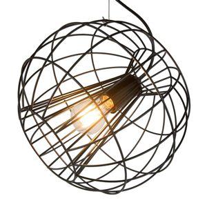 Závesná lampa Pop s okrúhlou klietkou v čiernej