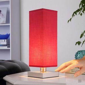 Červená nočná lampička Julina s látkovým tienidlom