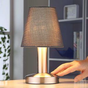 Lindby Sivá nočná lampička Hanno s látkovým tienidlom