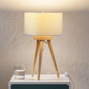 Drevená stojaca lampa Charlia biele tienidlo