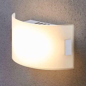 Biele sklenené nástenné svetlo Gisela LED osadenie