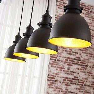 Závesná lampa Jasminka čierno–zlatá 4-plameňová