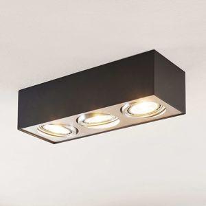Stropné LED svietidlo Dwight čierne troj-plameňové
