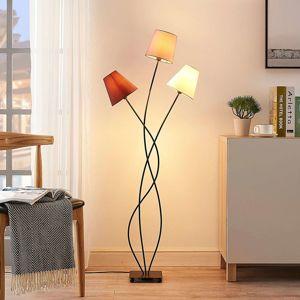 Lindby Stojaca lampa Melis, tri svetlá, látkové tienidlá