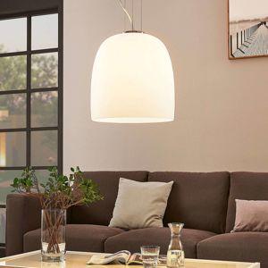 Sklená závesná lampa Noam, okrúhla, biela, 35 cm