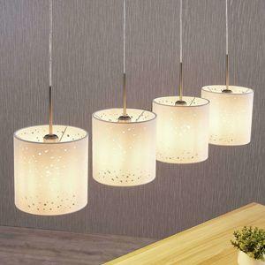 Lindby Závesná lampa Umma s dierkami, 4 svetlá, biela