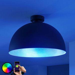 Lindby Smart LED stropná lampa Bowl 41 cm čierna