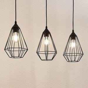 Lindby Závesná lampa Elda s klietkami, pozdĺžna, čierna