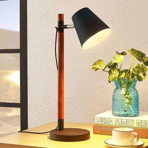 Stolová lampa Birte, čierna s dreveným prvkom