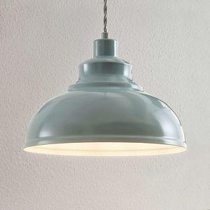 Lindby Vintage závesná lampa Albertine, kov, bledomodrá