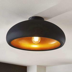 Kovová stropná lampa Gerwina, čierno-zlatá