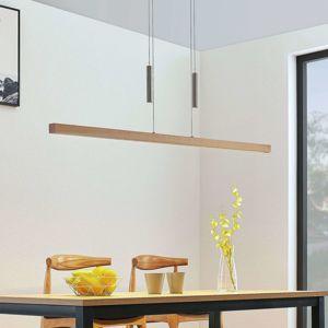 LED drevená pásová závesná lampa Tamlin, farba buk