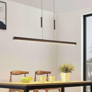 LED drevená závesná lampa Tamlin, čierny orech