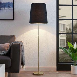 Lucande Pordis stojaca lampa, 155cm mosadz-čierna